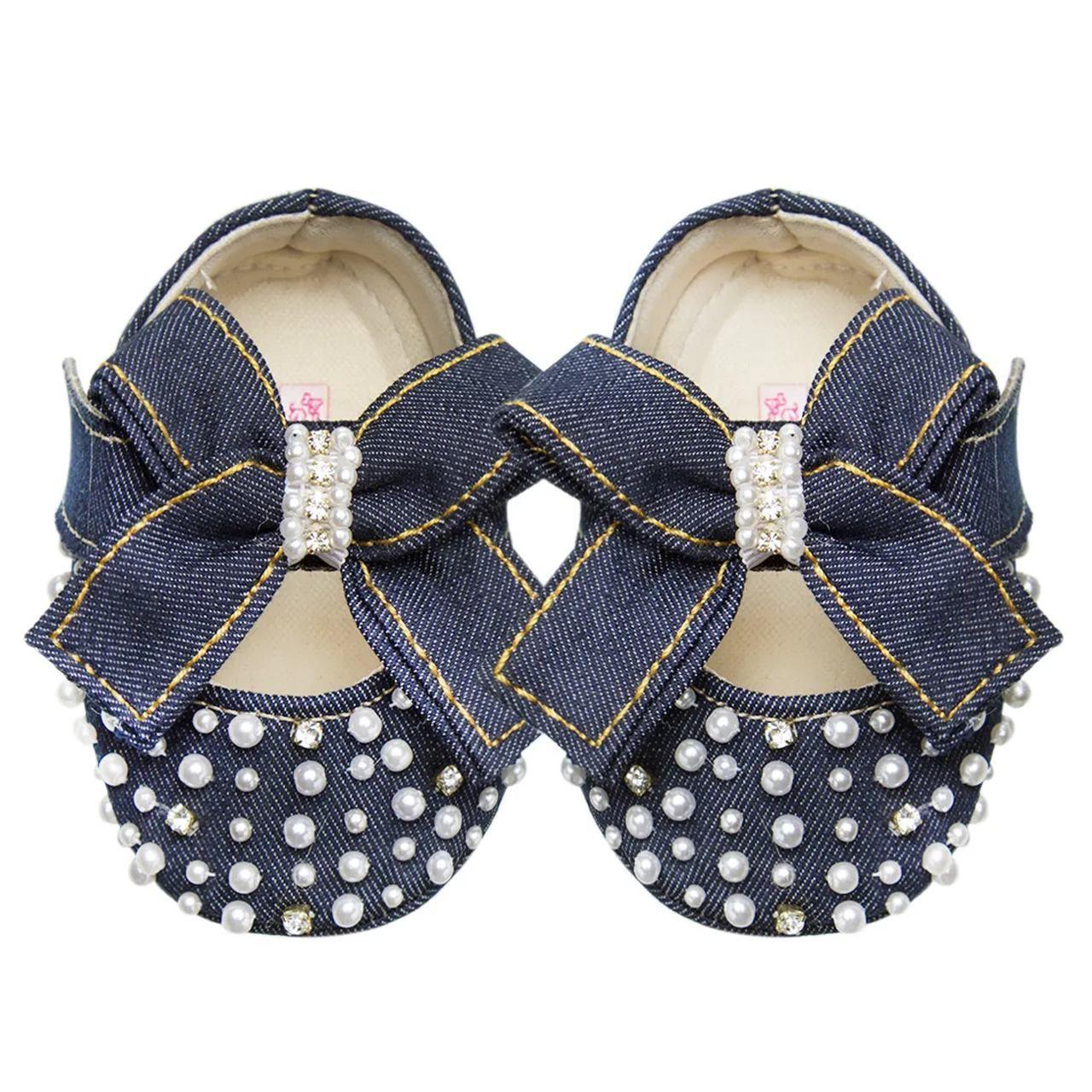 Sapatilha Luxo Jeans Pérolas