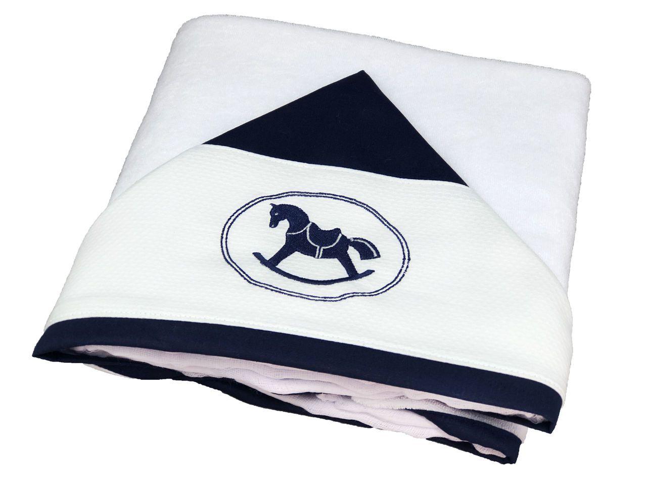 Toalha de Banho Capuz Cavalinho Azul Marinho