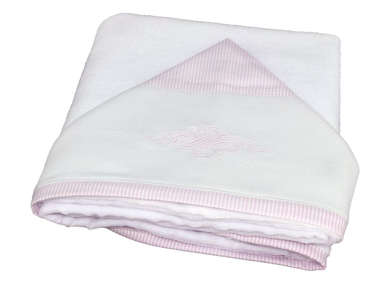 Toalha de Banho Capuz Listradinho Rosa