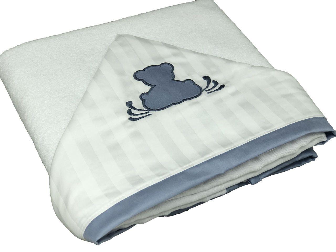 Toalha de Banho Capuz Ursinho Teddy Azul