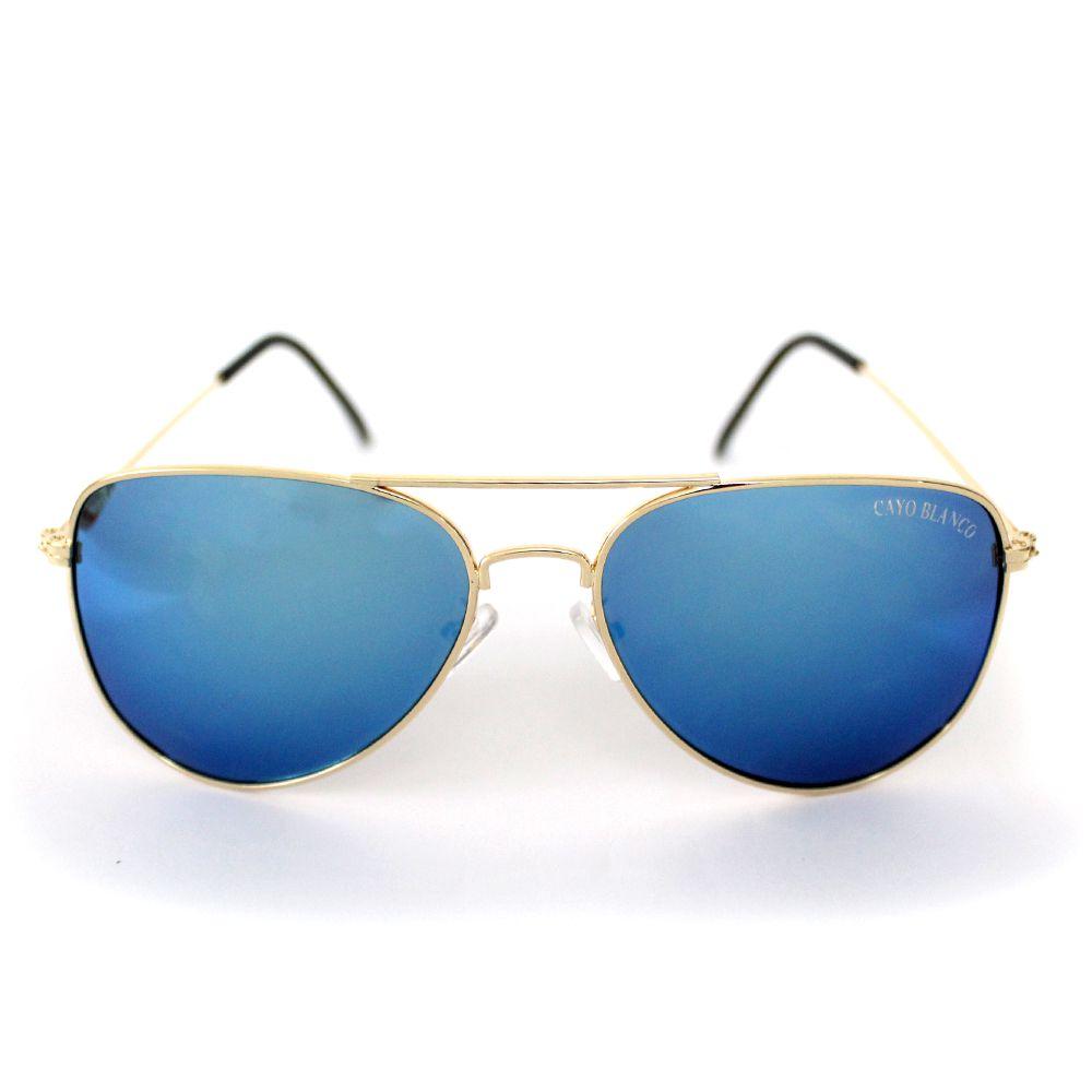 edeae45de Óculos de Sol Aviador Cayo Blanco Dourado com Lente Azul - Cayo Blanco