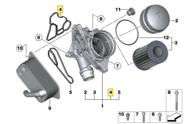 Junta Suporte filtro de óleo e trocador BMW 320 328 335 de 2012 a 2018; 130 125 135 2006 a 2018; 530 535 528 2006 a 2018; X3 2008 a 2018; X5 3.0 35i 2007 a 2018; X6 35i 2009 a 2018 Z4 28i 20i 35i 1218