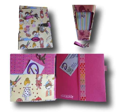 Caderno diário com cadeado A5 300 folhas