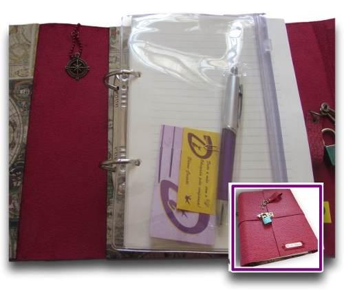 Caderno Diário Fichário Couro Sintético A5 250
