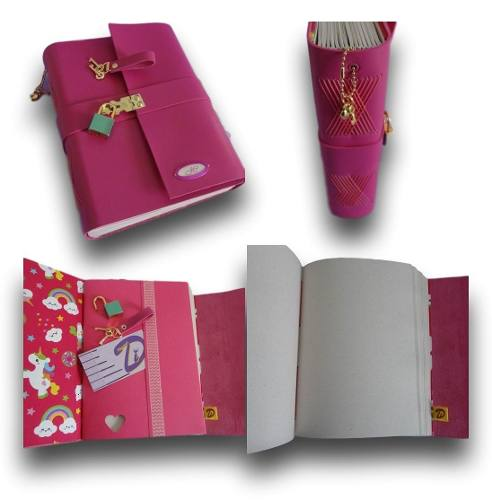 Caderno diário com cadeado couro A5 200 folhas