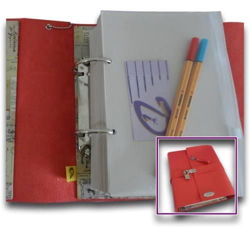 Caderno Diário Fichário Couro Sintético A5 500