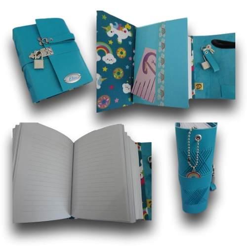 Caderno diário com cadeado couro A6 200 folhas