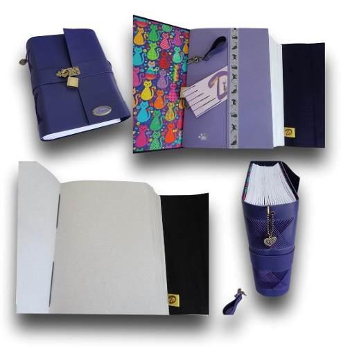 Caderno diário com cadeado couro A5 500 folhas