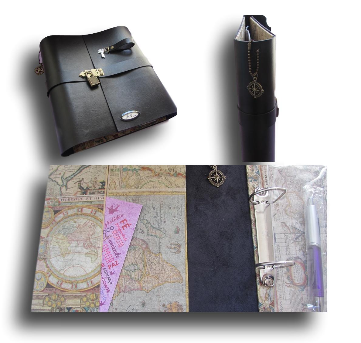 Caderno diário com cadeado Couro A4 300 Folhas