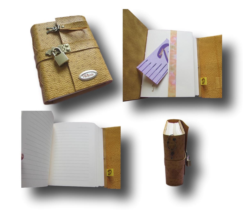 Caderno diário com cadeado couro A6 300 folhas