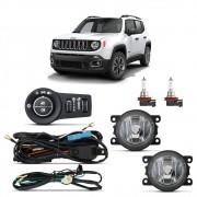 Kit Farol de Milha Jeep Renegade 2020 em diante com Botão Original Com lâmpada Philips Amarela