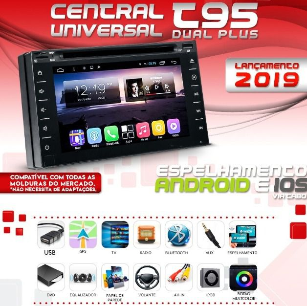 Central Multimídia Universal 2 din Jeep Renegade PCD Todos