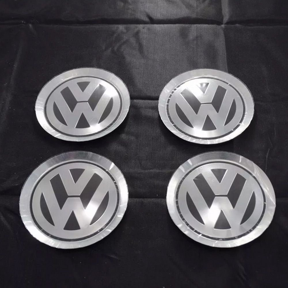 Jogo Emblema Volkswagen Alumínio Tampa Jetta Roda Liga 78mm
