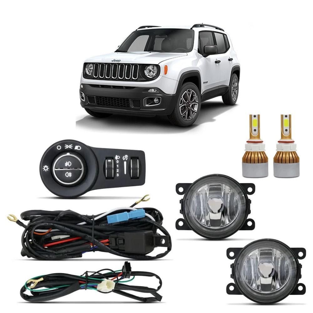 Kit Farol de Milha Jeep Renegade 2020 em diante com Botão Original Com Lâmpada Led