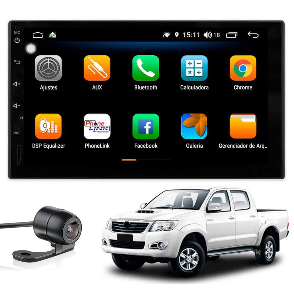 Multimídia Hilux 2006 2007 2008 2009 2010 Tela 7'' Android 9.0 Gps Câmera de ré e Frontal TV Digital 2GB Aikon