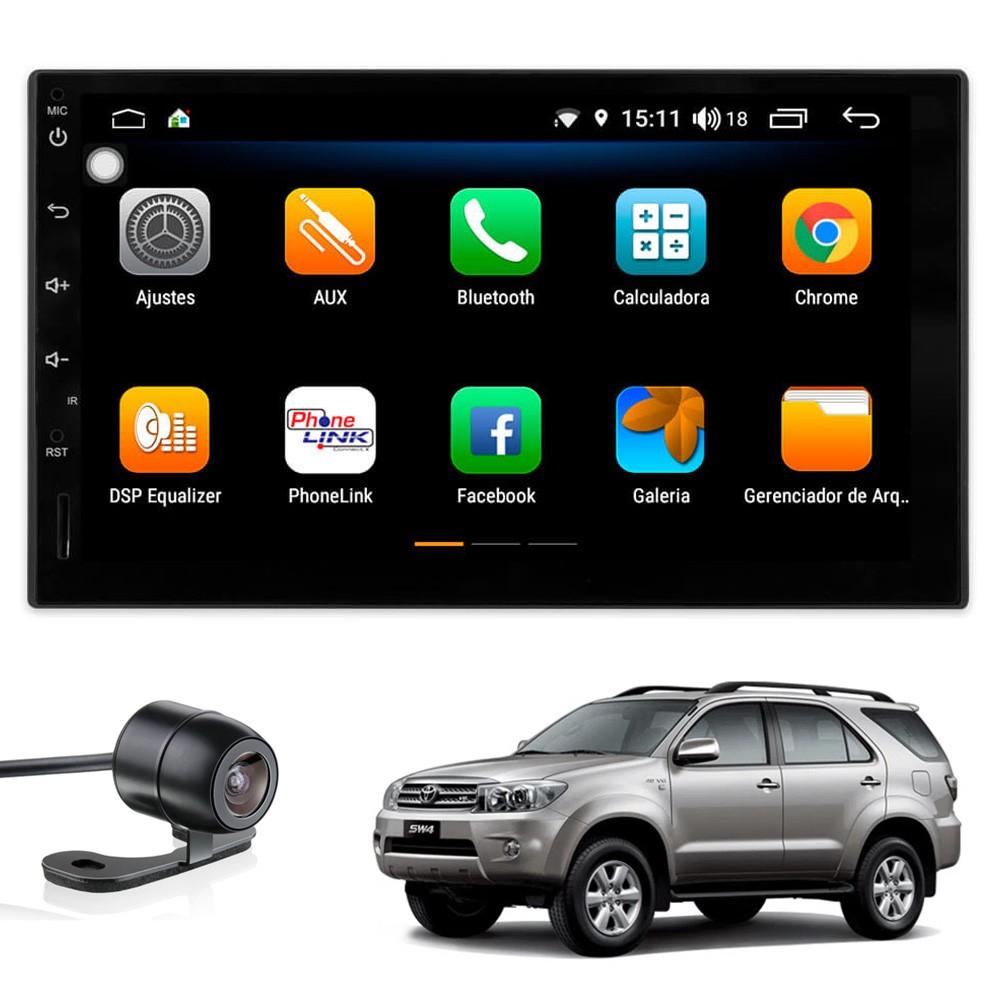 Multimídia Hilux SW4 2006 2007 2008 2009 2010 Tela 7'' Android 9.0 Gps Câmera de ré e Frontal TV Digital 2GB Aikon