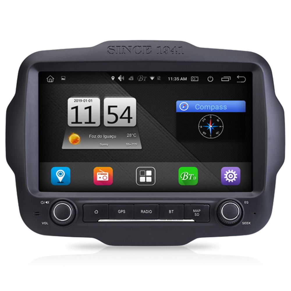 Multimídia M1 Jeep Renegade PCD Android 8.1 GPS Espelhamento Tv Full HD