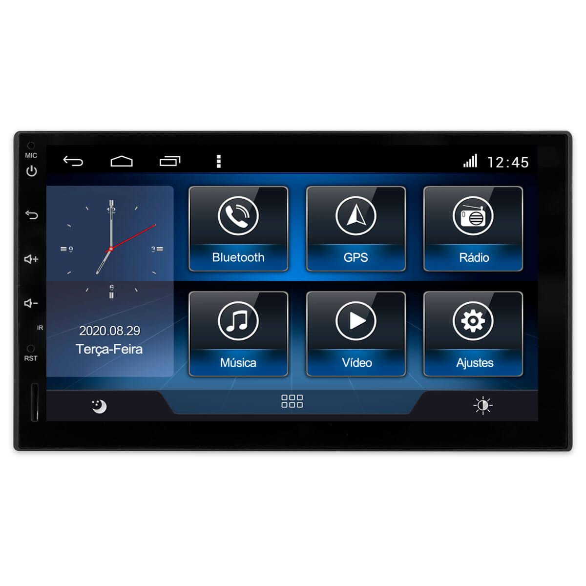 Multimídia Universal Tela 7'' Android 9.0 Gps Câmera de ré e Frontal Sem TV 2GB Aikon