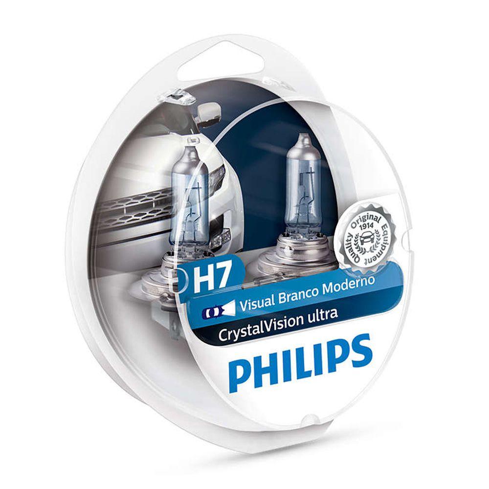 Par Lâmpada H7 Super Branca Philips Crystal Vision Ultra