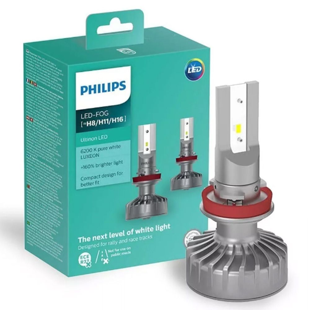 Par Lâmpadas Philips Led Fog Ultinon 6200k H16 +160%