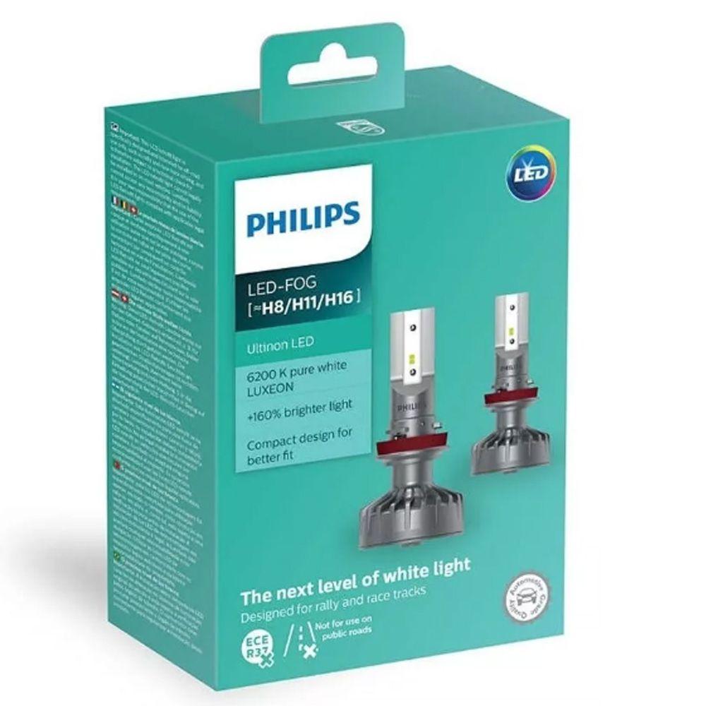 Par Lâmpadas Philips Led Fog Ultinon 6200k H8 +160%