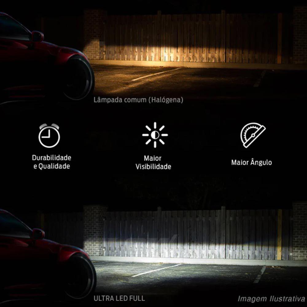Par Lâmpadas Ultra Led Full H11 6000K 12V e 24V 8000 Lumens