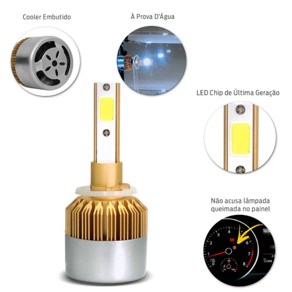 Par Lâmpadas Ultra Led Full H27 6000K 12V e 24V 8000 Lumens