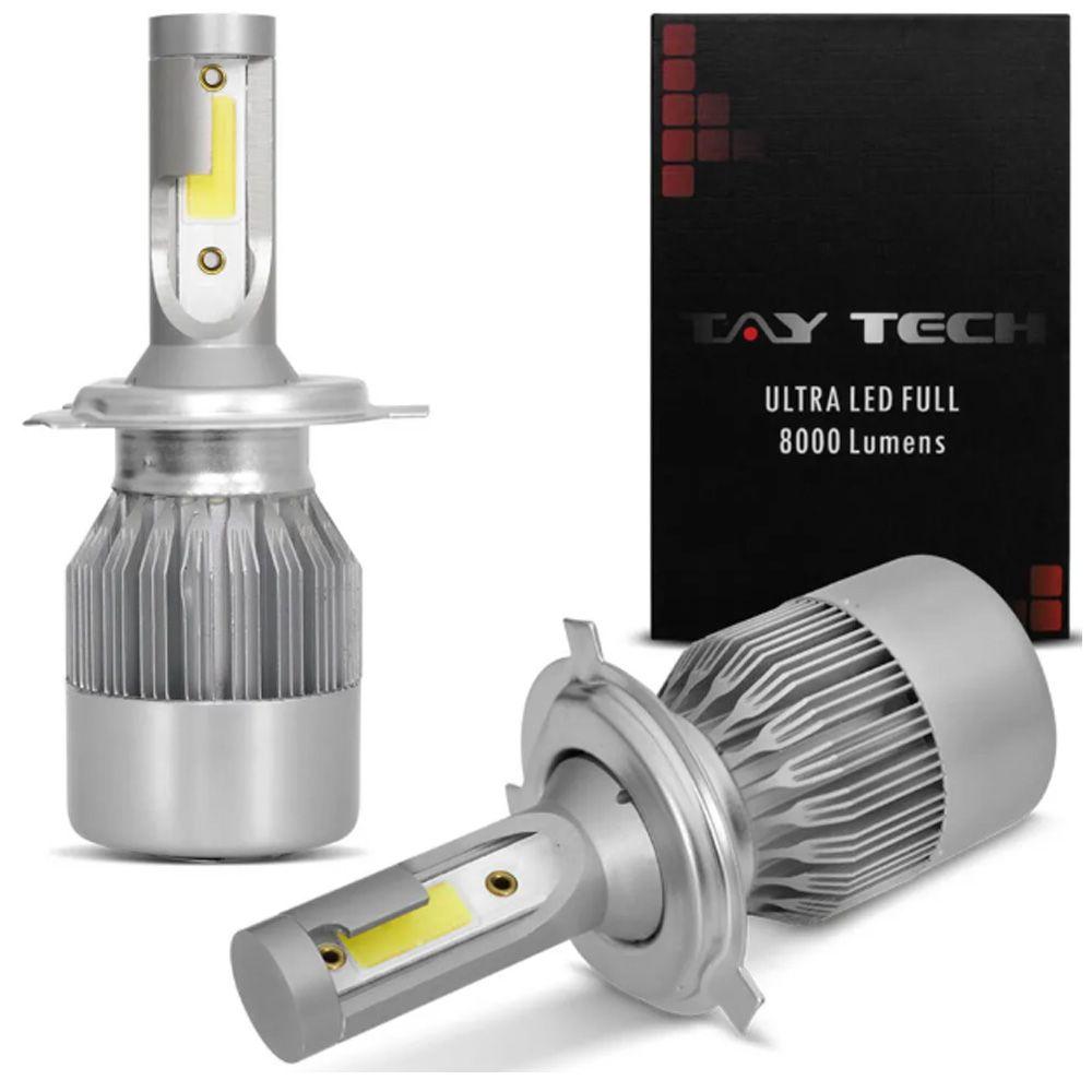 Par Lâmpadas Ultra Led Full H4 6000K 12V e 24V 8000 Lumens