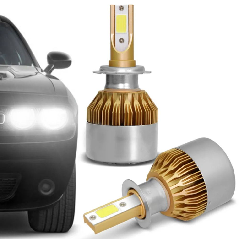 Par Lâmpadas Ultra Led Full H7 6000K 12V e 24V 8000 Lumens