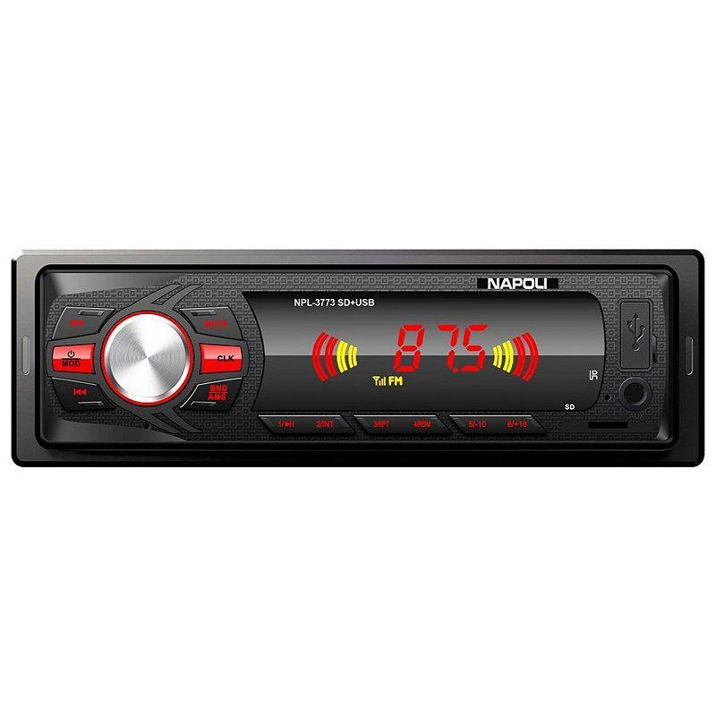 Rádio Napoli P/ Carro Npl-3773 Cartão SD e USB