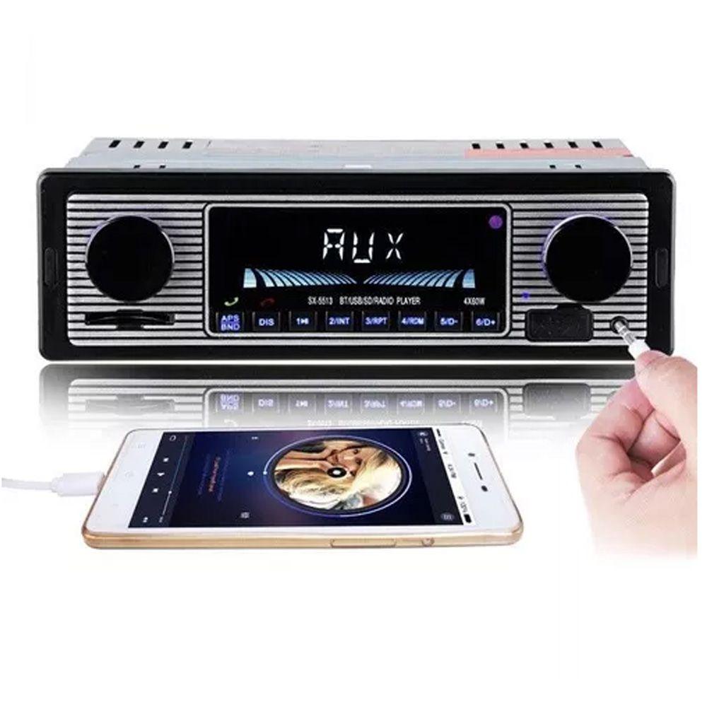 Rádio Vintage Retro Bluetooth Usb Carro Fusca Opala Antigo