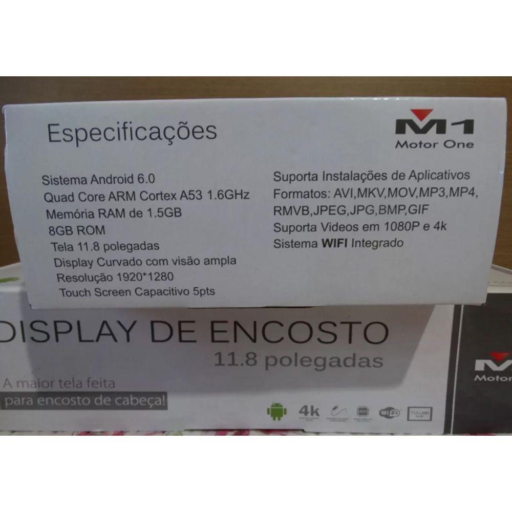 Tela De Encosto Led M1 11.8 Pol. Android 6.0 Netflix Wifi