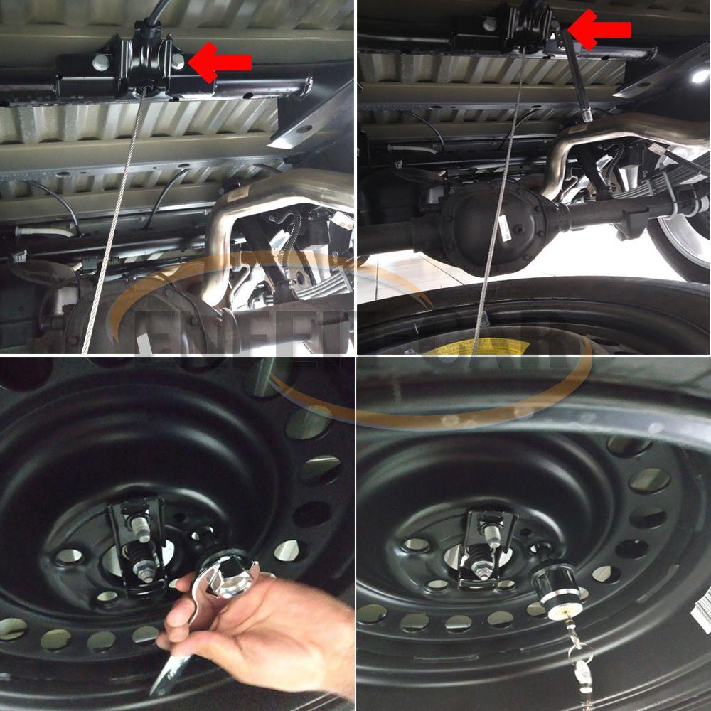 Trava Protetor Estepe Mitsubishi L200 Sport 2017 a 2019 Antifurto com chave tetra