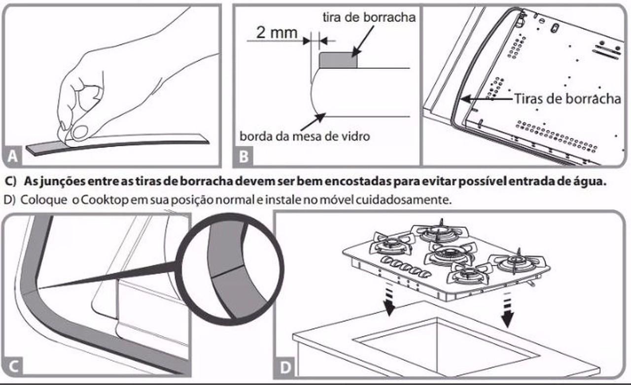 Borracha Vedação do Vidro p/ Fogão Cooktop 4 e 5 Bocas