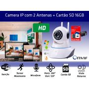 Kit Câmera IP P2P 1.3MP WIFI com 2 Antenas e Cartão de memória 16gb