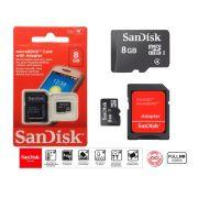 Cartão De Memória Micro Sd Sandisk 8gb Original + Adaptador