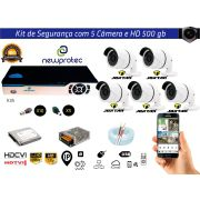Kit Cftv 5 Câmeras Jortan AHD720P com Dvr 8ch 5x1 Full Hd + Hd500gb 100m cabo Coaxial e Fonte 5A