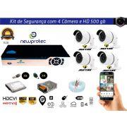 Kit Cftv 4 Câmeras Jortan AHD720P com Dvr 4ch 5x1 Full Hd + Hd500gb 100m Cabo Coaxial e Fonte 5A