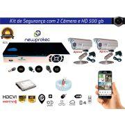 Kit Cftv Dvr 4ch 5x1 Full Hd 2 Câmeras Aprica Hd500gb e Cabo