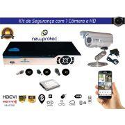 Kit Cftv 1 Câmera Convencional com Dvr 4ch 5x1 Full HD e Hd500gb