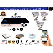 Kit Cftv Dvr 4ch 5x1 Full Hd 3 Câmeras Aprica Hd500gb Cabo e Fonte 5A