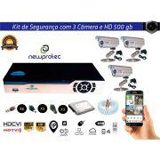 Kit Cftv 3 Câmeras Convencionais com Dvr 4ch 5x1 Full Hd + Hd500gb e 100m Cabo Coaxial