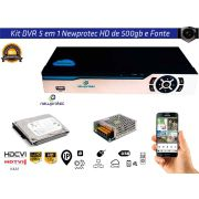 Kit Dvr 8ch 5x1 Newprotec Full Hd NP6504 com Hd 500gb e Fonte 10A
