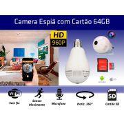 Lampada Câmera Espiã Panorâmica 360º Wifi + Cartão SD 64GB