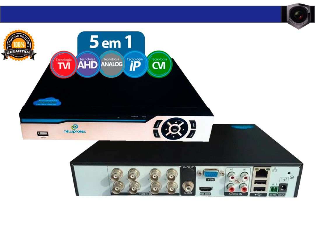 Kit Cftv 6 Câmeras Jortan AHD720P com Dvr 8ch 5x1 Full Hd + Hd 500gb 100m Cabo Coaxial e fonte 10A