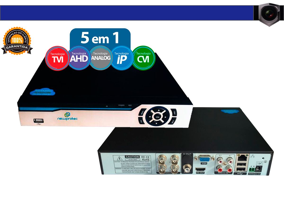 Kit Cftv 4 Câmeras Convencionais com Dvr 4ch 5x1 Full Hd + Hd 500gb 100m Cabo Coaxial e Fonte 5A
