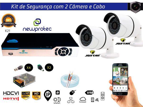 Kit Cftv 2 Câmeras Jortan AHD720P com Dvr 4ch 5x1 Full Hd + 100m Cabo Coaxial e Fonte 5A