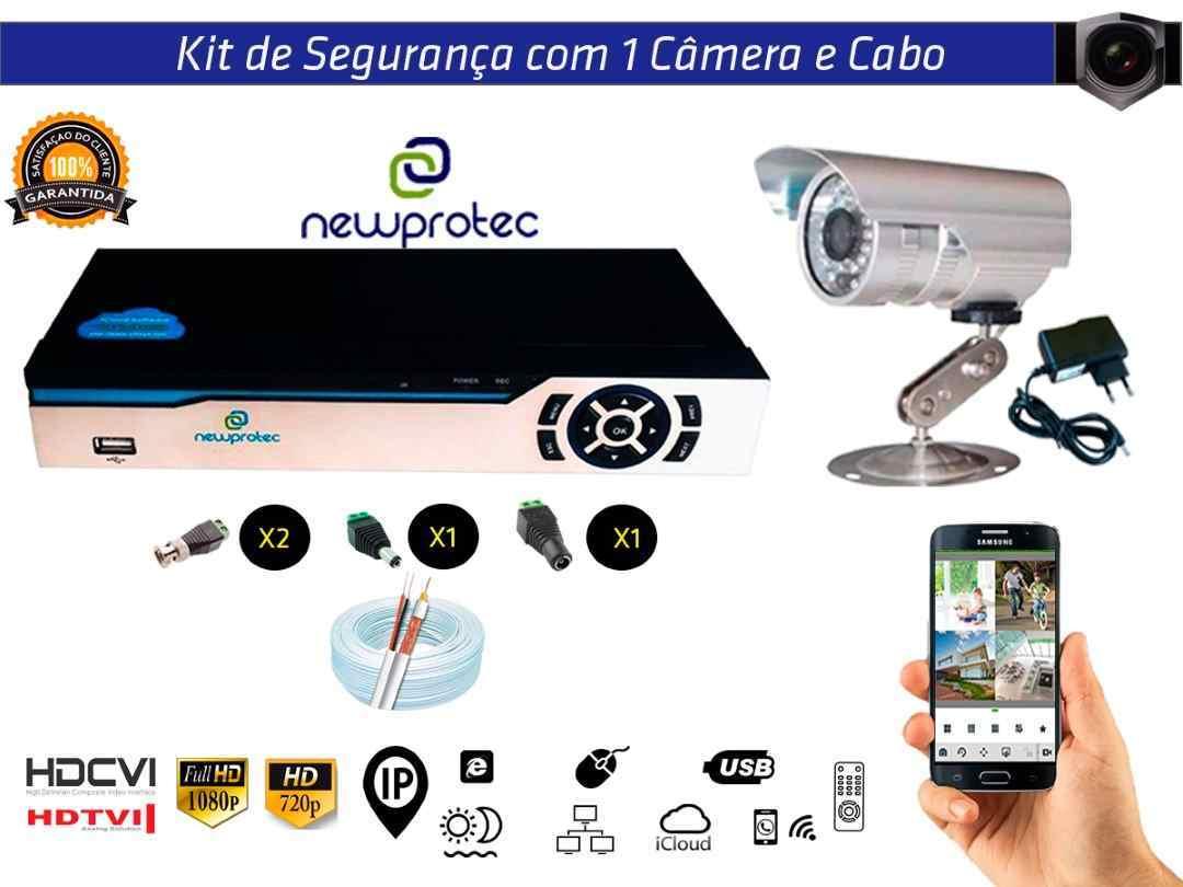 Kit Cftv 1 Câmera Convencional com Dvr 4ch 5x1 Full Hd e 100m Cabo Coaxial