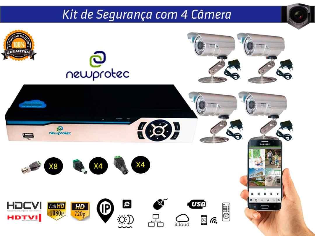 Kit Cftv 4 Câmeras Convencionais com Dvr 4ch 5x1 Full Hd
