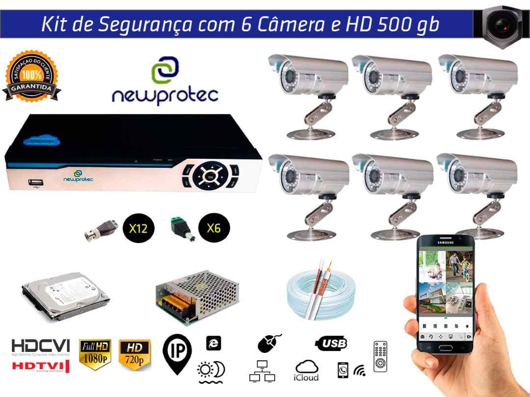 Kit Cftv 6 Câmeras Convencionais com Dvr 8ch 5x1 Full HD + HD500gb 100m Cabo Coaxial e Fonte 10A